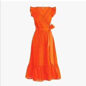 J Crew NWT Orange eyelet wrap dress size 6